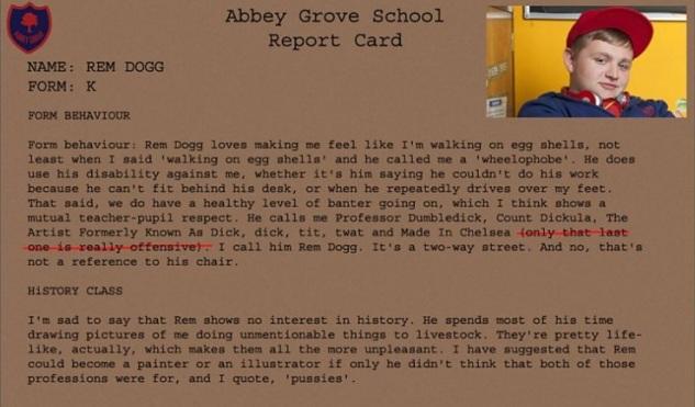 bad-education-rem-dog-report-card